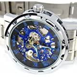 YouYouPifa Men's Alloy Strap Wind Round Mechanical Watches (Silver Strap / Black Dial)