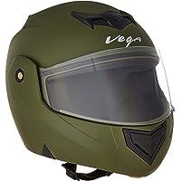 Vega Crux DX Flip-Up Helmet (Dull Battle Green, M)