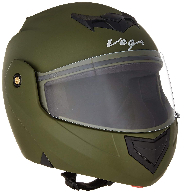 Stylish Dull Battle Green Vega Crux DX Flip-Up Helmet