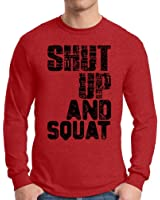 Awkward Styles Men's Shut Up And Squat Graphic Long Sleeve T shirt Tops Workout