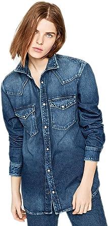 Pepe Jeans Camisa Kiss Denim Azul Mujer: Amazon.es: Ropa y accesorios