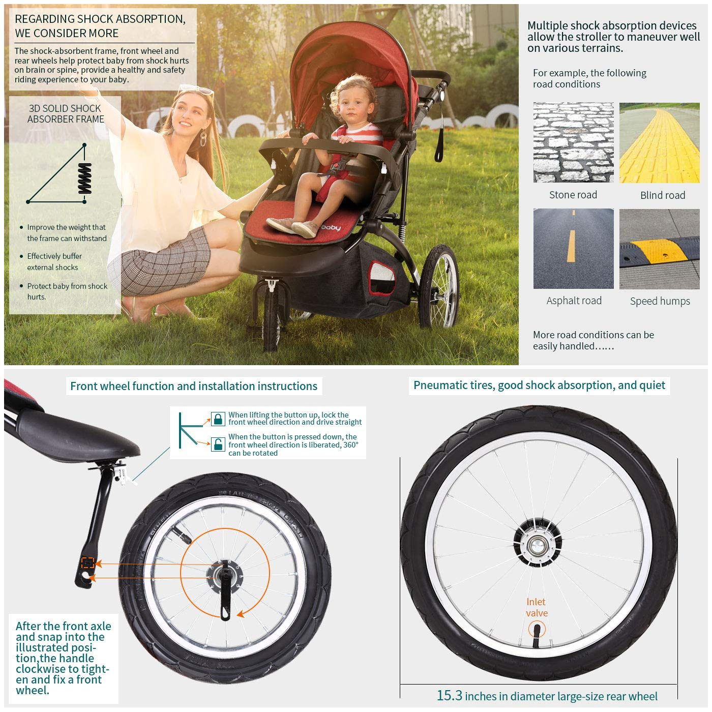 Jogging Stroller Fold City Baby Jogger Travel Citi Jog Strollers Single Toddler Baby Pram Jogging Compact Urban Ultralight Joggers Beby Carriage Pushchair Stroller Travel System by Cynebaby / HAIXIAO (Image #6)