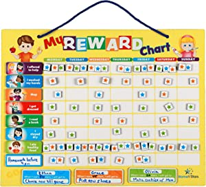 HomeN'Stars Chore Chart for Kids- Behavior Chart for Kids at Home- Reward Chart for Kids- 60 Chore Tags, Multiple Kids, Sturdy Magnet or Hang on Wall