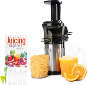 Small Cold Press Juicer With 16 oz Plastic Juice Bottles With White Caps And Juicing Recipe Book, Includes Funnel And Brush