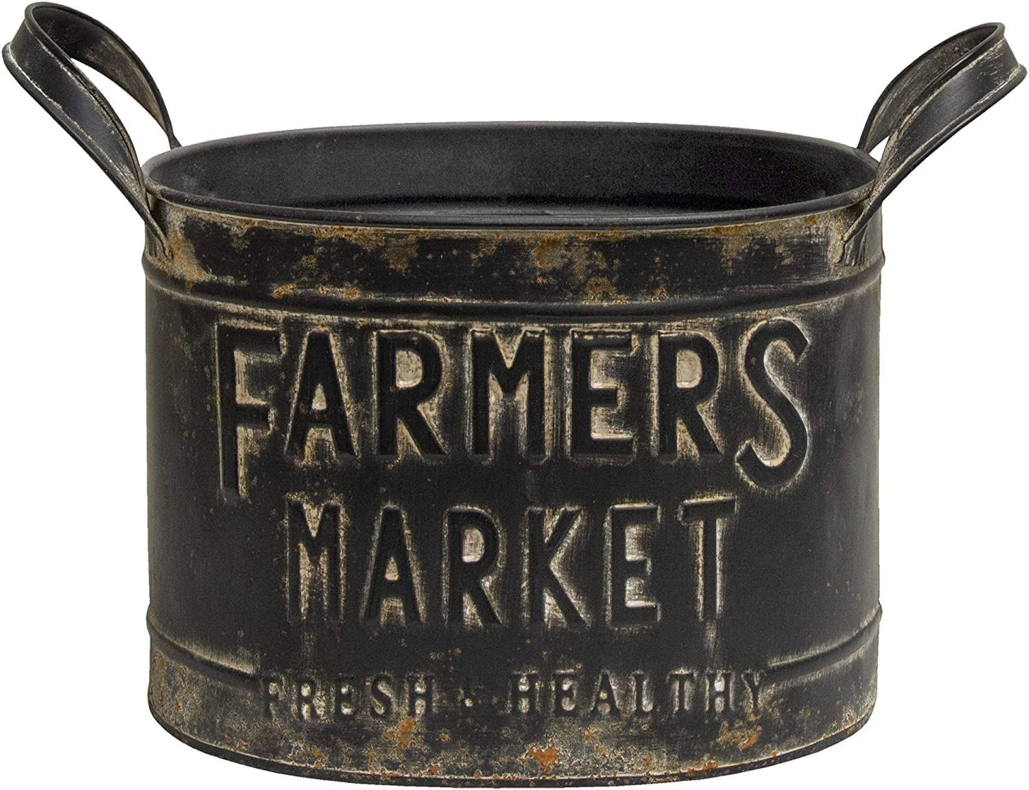 """Farmers Market Bucket only This Dark Charcoal Colored Bucket Features The Phrase,""""Farmers Market - Fresh & Healthy,"""" in Embossed Lettering."""