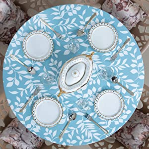 Juju World Round Indoor Outdoor Patio Elastic Fitted Edged Flannel Backed Vinyl Table Cover Waterproof White Leaves Sky Blue (Large 45