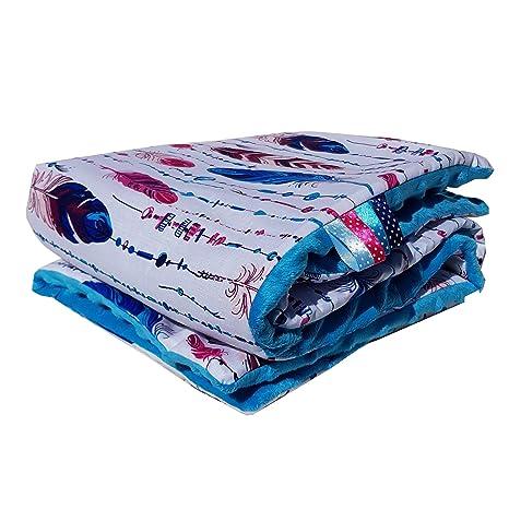 Pluma atrapasueños Minky Baby manta para gatear techo Super Suave y Agradable. Mano azul Blau