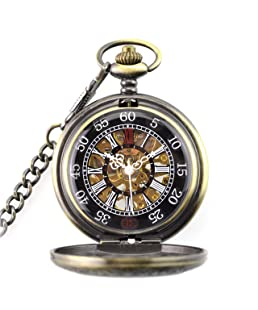 CestMall Mechanical Pocket Watch Classical Sculptured Numerals Pocket Watch Retro Steampunk Fashion Pendant Pocket Watch with 14.5in Chain for Xmas Birthday Fathers Day Gift
