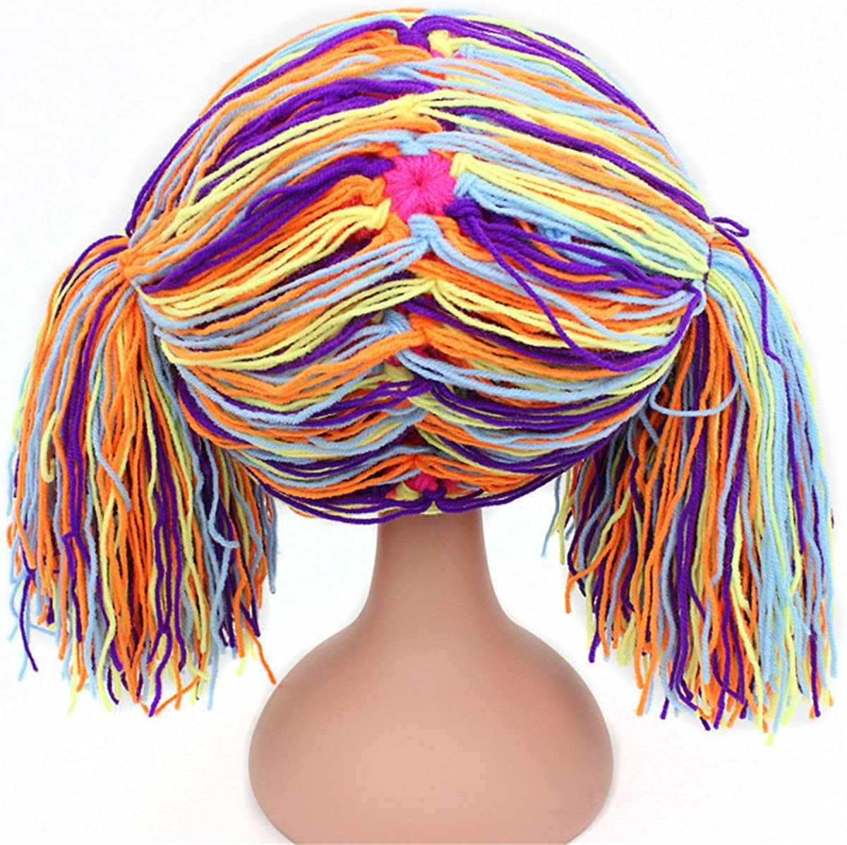Qhome Girls Crocheted Cabbage Patch Clown Pigtail Costumes Hat Halloween Wig Funny Hat Carnival Winter Hat for Kids