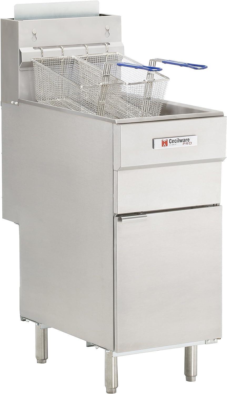 Grindmaster Cecilware FMS504LP 120000 BTU Floor Model Liquid Propane Gas Fryer, 50-Pound, Stainless Steel