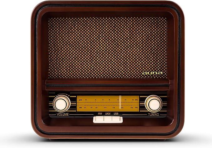 AUNA Belle Epoque 1901 - Radio nostálgica, Radio Retro, FM/Am, Banda de Frecuencias iluminada, USB con MP3, 1,5 W, Cable de Antena, Carcasa de Madera, ...