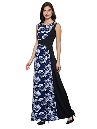 8dddb304f1 Raas Prêt Women's Crepe Print Asymetric Maxi Dress Gown (Blue,Black):  Amazon.in: Clothing & Accessories