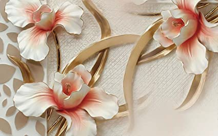 White And Golden Flower 3D Wallpaper Available In All Size For Living Room Bed Rooms
