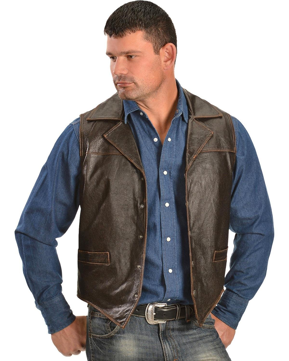 Cripple Creek Men's Leather Snap Front Conceal Carry With Flannel Lining Vest Brown Large