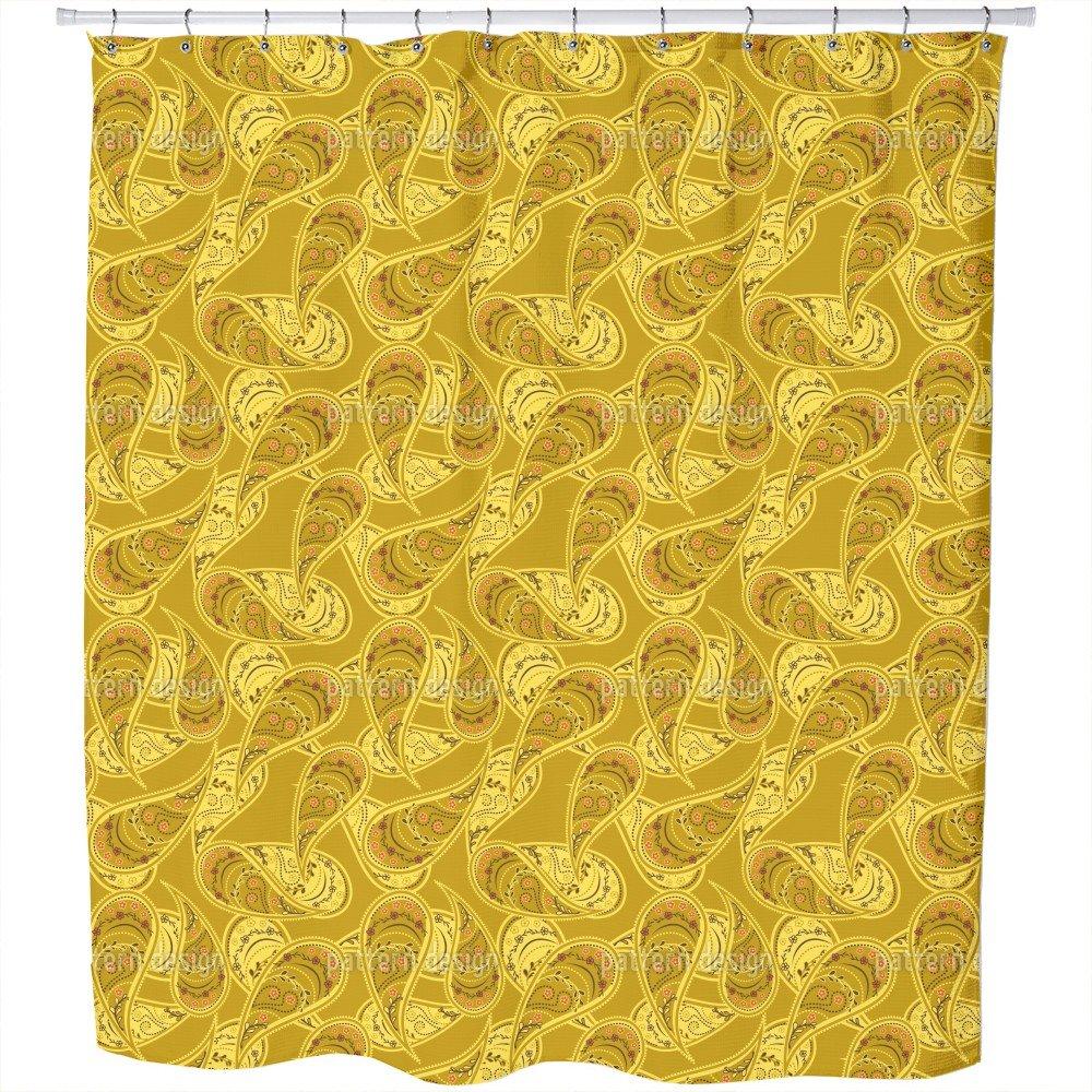 Uneekee Gold Rush Of Paisleys Shower Curtain: Large Waterproof Luxurious Bathroom Design Woven Fabric