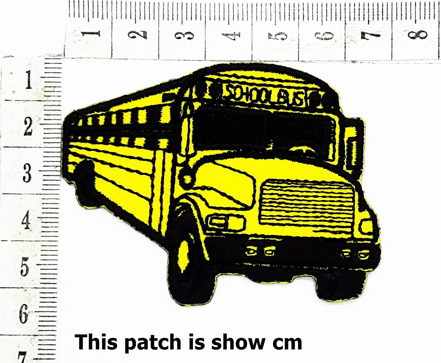 Yellow Bus Stop School Bus Student Bus Classic car Cartoon Chidren Kids Embroidren Iron Patch/Logo Sew On Patch Clothes Bag T-Shirt Jeans Biker Badge Applique