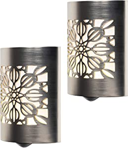 GE CoverLite LED Night Light, 2 Pack, Plug-in, Dusk to Dawn Sensor, Home Decor, UL-Listed, Ideal for Kitchen, Bathroom, Bedroom, Office, Nursery, Hallway, 46817, Brushed Nickel | Floral, 2