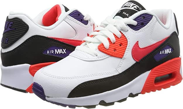 Nike Big Kids Air Max 90 Leather Running Shoes (4.5)