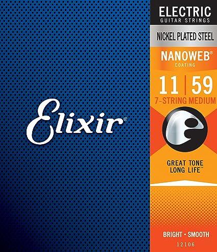 Elixir Nanoweb níquel 12106 7-strings para guitarra eléctrica, tamaño mediano