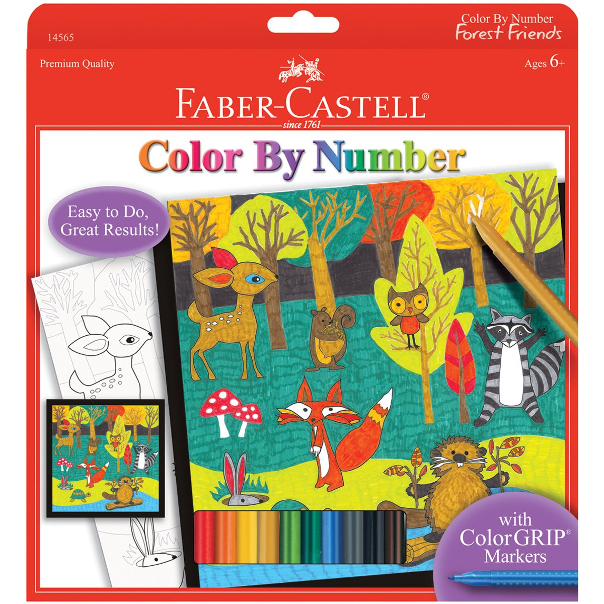 amazon com faber castell color by number forest friends kids