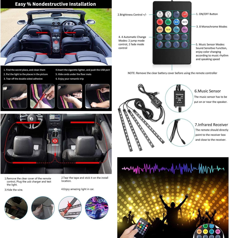 dzgreat 4x12 Innenbeleuchtung LED Atmosph/äre Licht Auto Innenraumbeleuchtung led innenraum mit USB-Port und IR Fernbedienung Musik /& Sprachsteuerung
