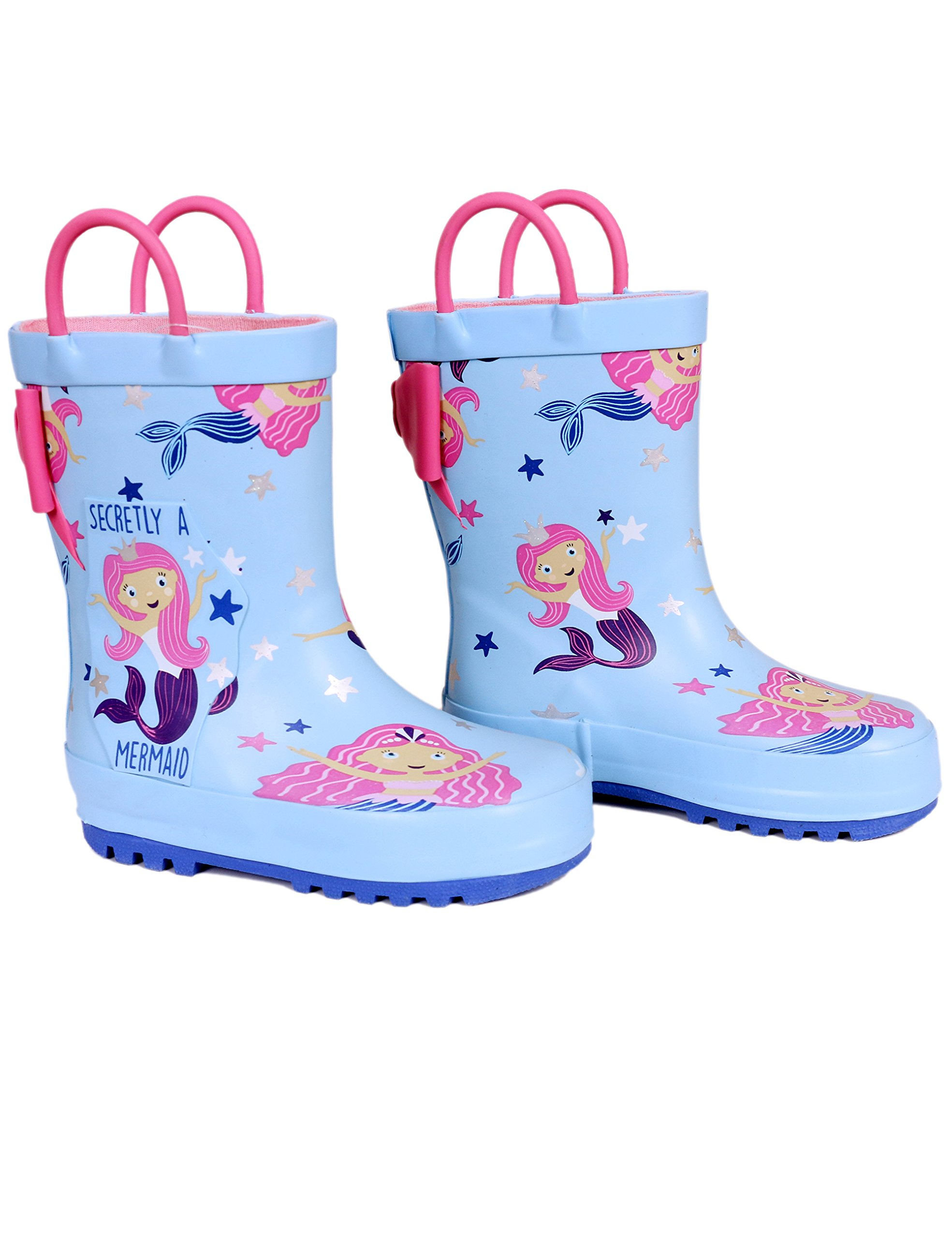 SHOFORT Girls' Rubber Rain Boots with Handles for Little Kids, Size 13