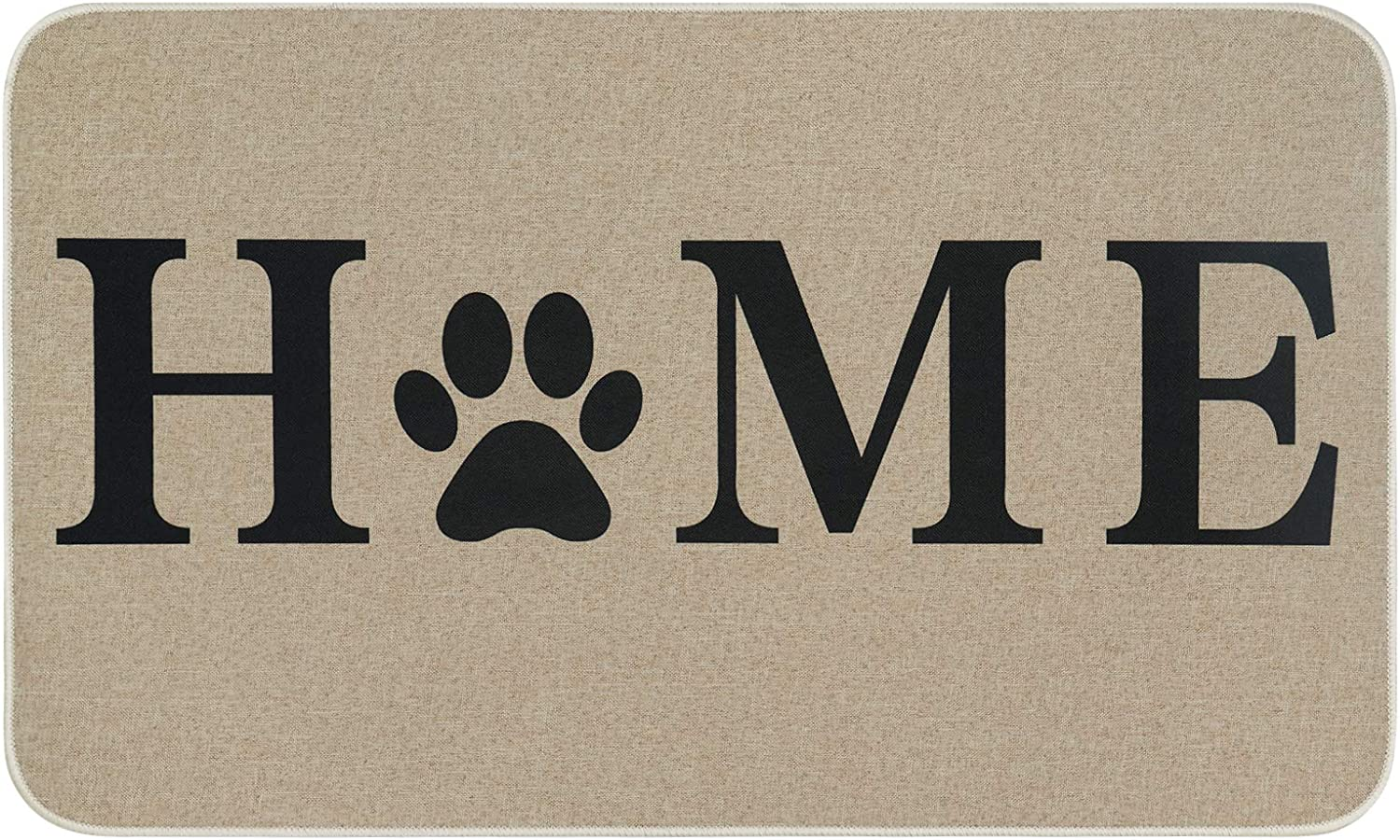 Home Doormat with Paw, Welcome Entrance Door Mats with Rubber Backing Non-Slip, Farmhouse Low-Profile Floor Mat for Indoor Outdoor Front Porch Decorative, 18 x 30 Inch