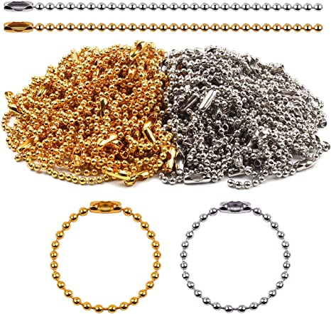 Metal Ball Chains 2.4mm Bead Connector Clasp Key Chain Dog Tag Chain for DIY Jewelry Making Ball Chain Keychains