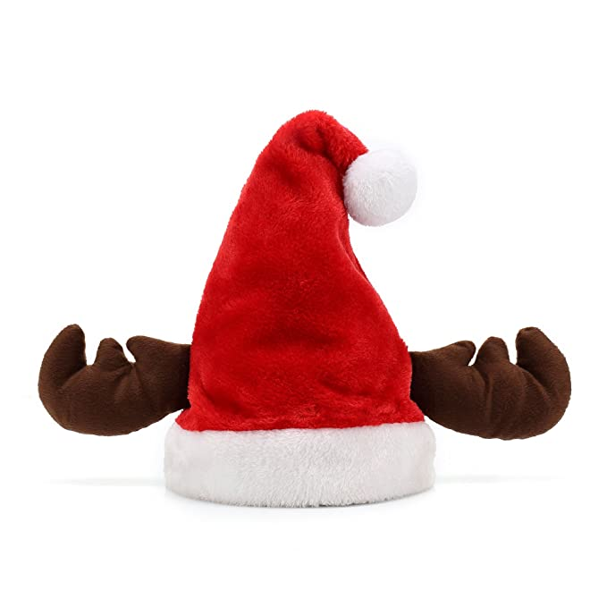 b9a10e5dc6373 Crusar Santa Hat Xmas Cap Christmas Antler Costume Holiday Party Accessory  Women Adults Red  Amazon.ca  Clothing   Accessories