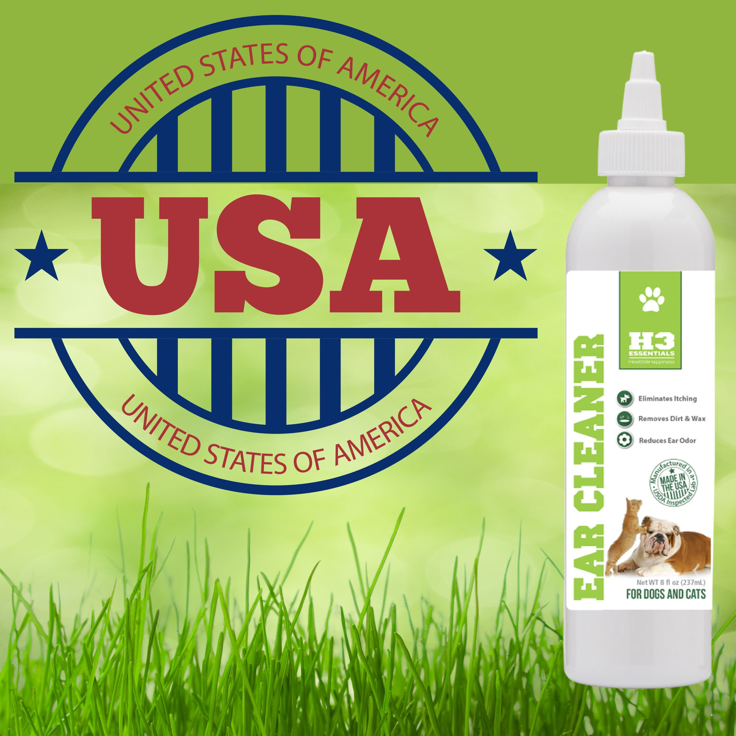 H3 Essentials Dog Ear Cleaner For Dogs and Cats with Aloe - Prevents Infection, Cleans and Dries Pets Ears - 8 oz by H3 Essentials (Image #5)