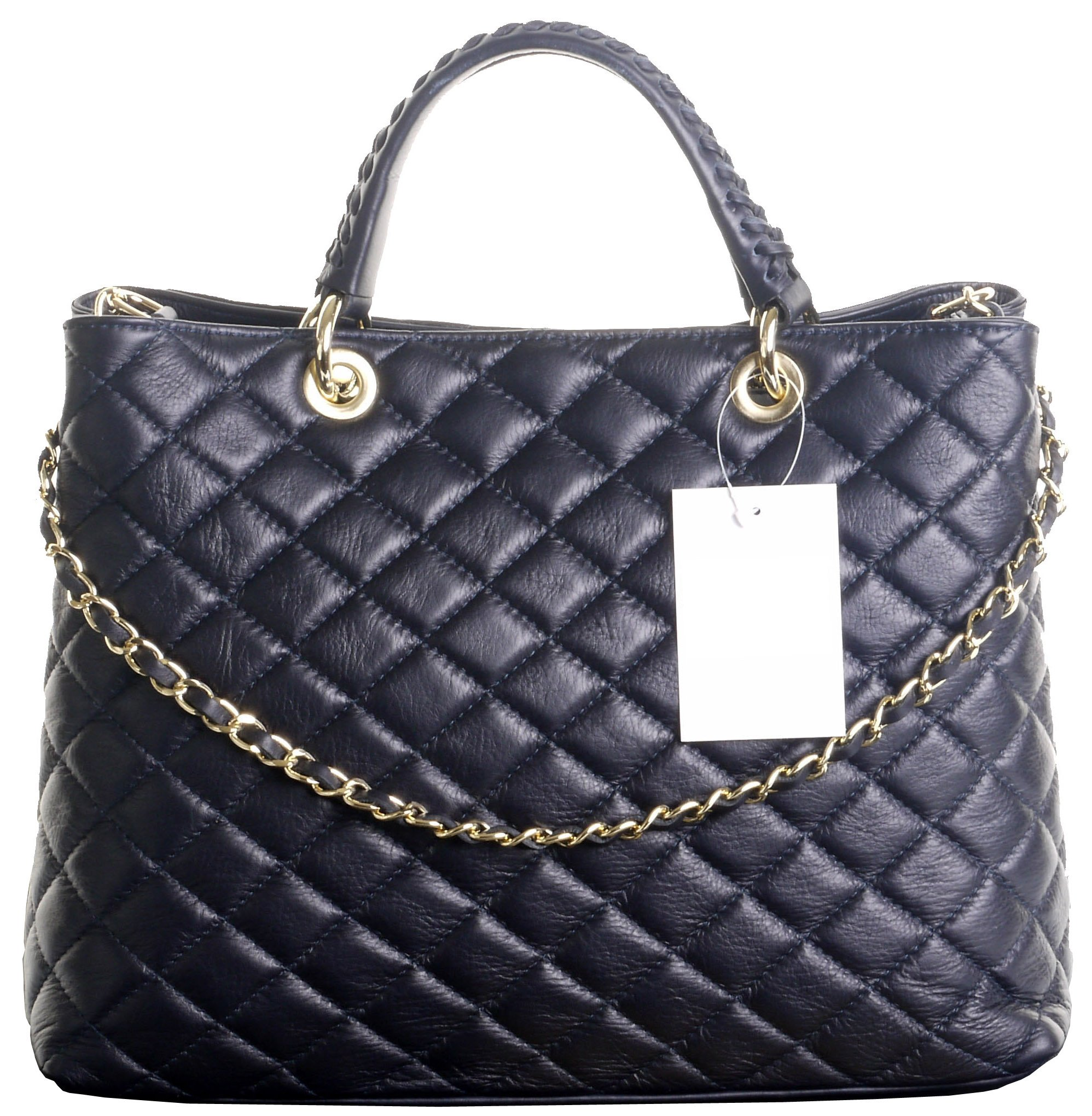 Italian Navy Blue Leather Large Top Handled Quilted Shoulder Bag Handbag, with Metal Chain and Leather, Strap Includes a Branded Protective Storage Bag by Primo Sacchi