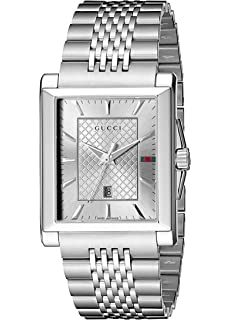 Gucci G-Timeless Rectangle Stainless Steel Mens Watch(Model:YA138403)