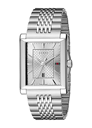 2558530a2c3 Image Unavailable. Image not available for. Color  Gucci G-Timeless  Rectangle Stainless Steel Men s ...