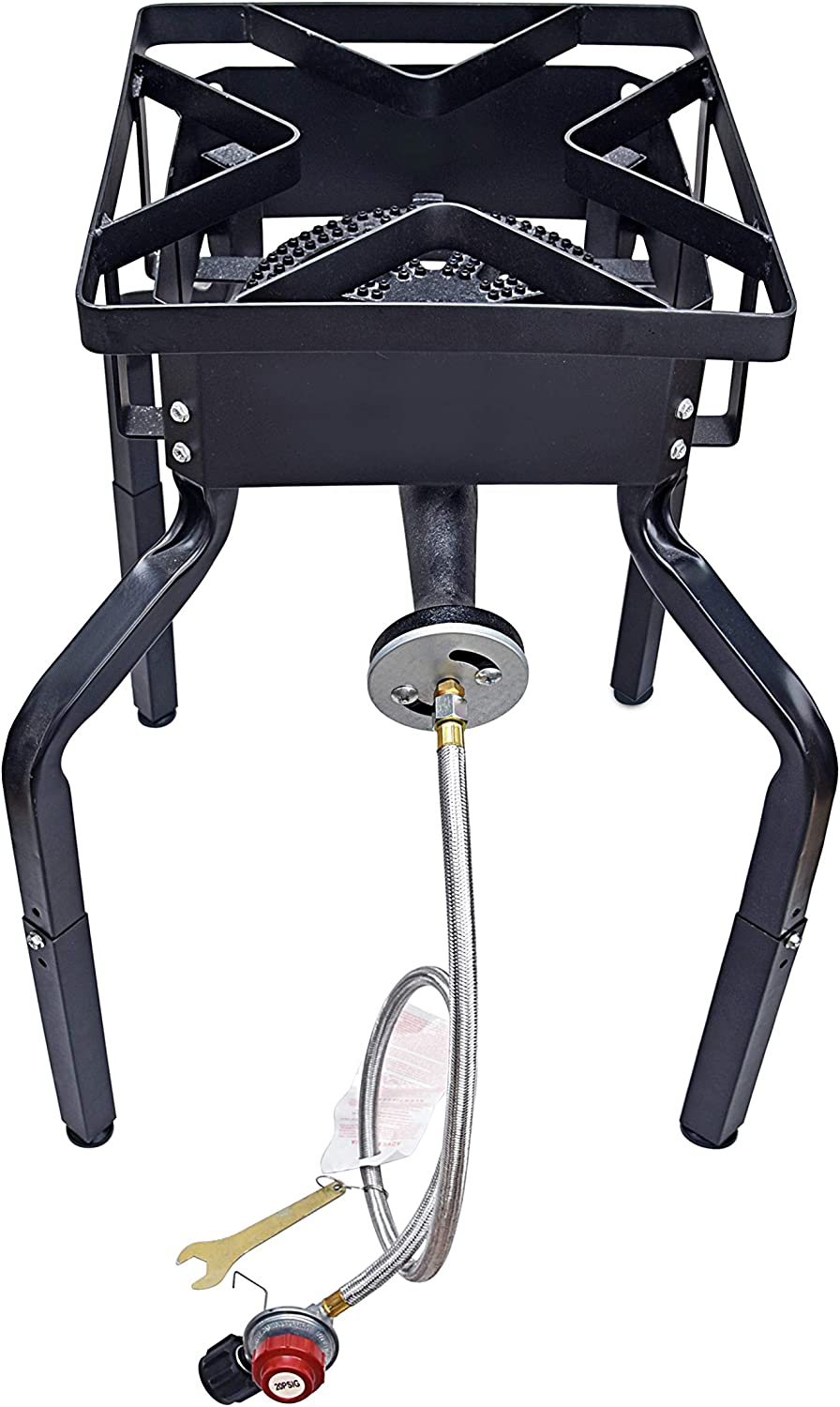 ARC USA, Outdoor Single Burner Stove with Adjustable Legs, High Pressure Propane Burner, Portable Gas Cooker, Camping Burner, Adjustable 0-20 PSI CSA Certified Regulator & Hose & Connector