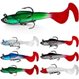 OPQ Fishing Soft Plastic Lures for Bass Jig Head Soft Swimbait Fish Lures Plastic Baits for Saltwater/Freshwater Fishing Lure
