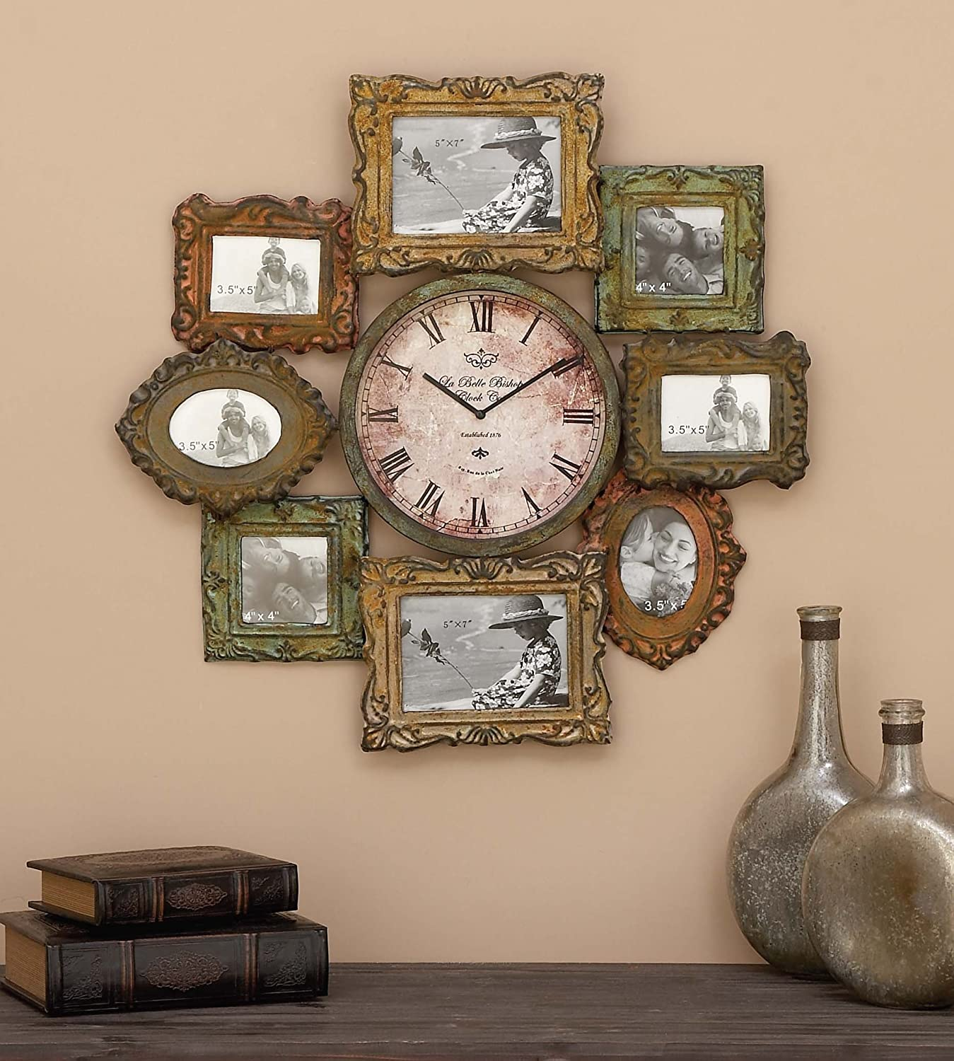 Amazon deco 79 metal clock photo frame 25 by 25 inch home amazon deco 79 metal clock photo frame 25 by 25 inch home kitchen amipublicfo Gallery