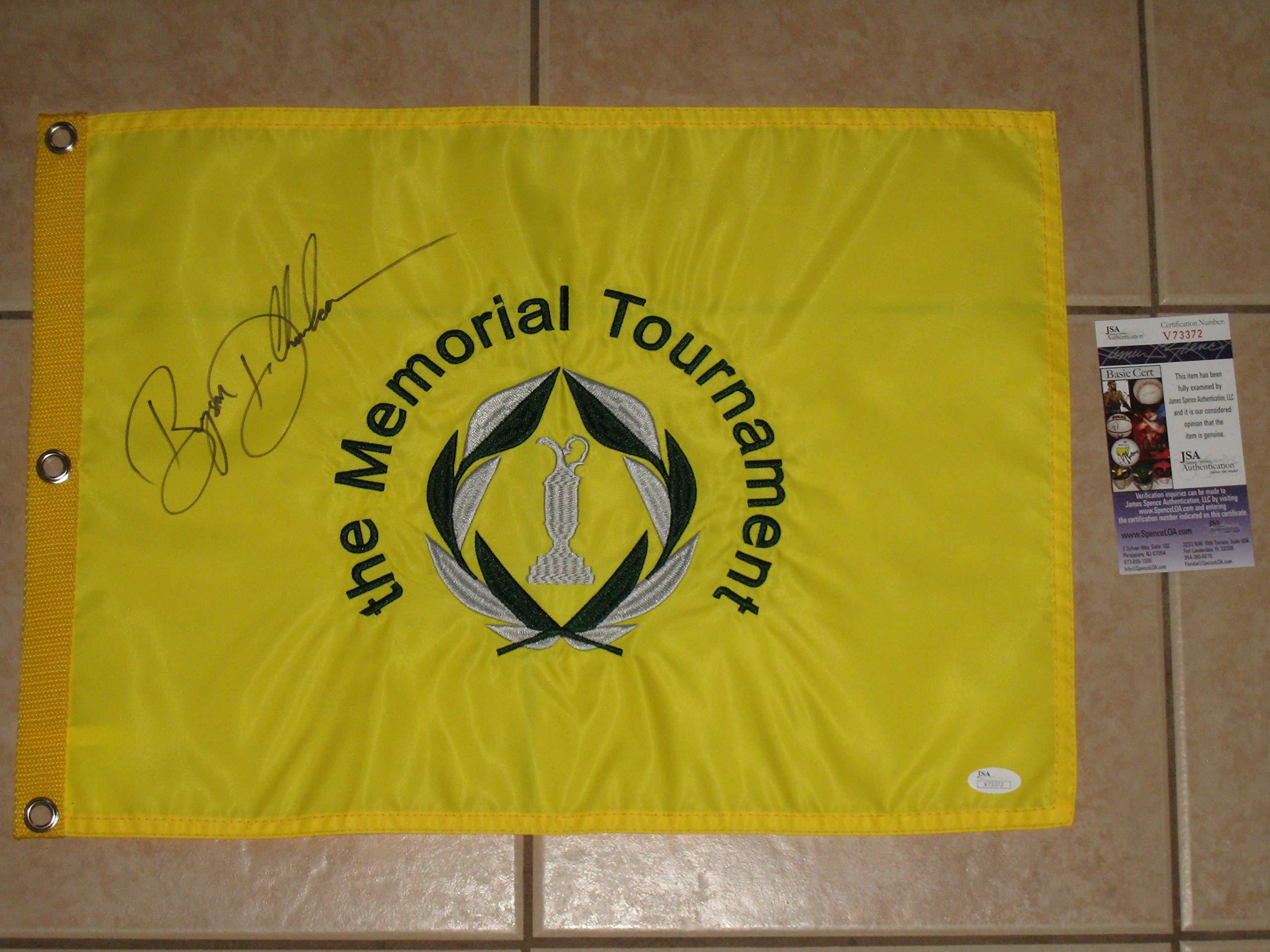 Bryson DeChambeau signed 2018 Memorial Tournament Winner PGA Tour Golf Flag JSA COA