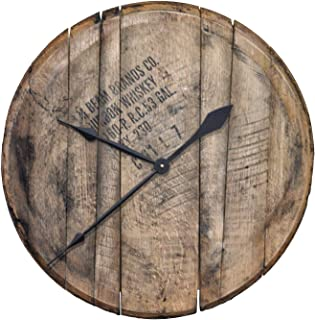 product image for WhiskeyMade Authentic Reclaimed Bourbon Whiskey Barrel Head Clock - Comes Ready to Hang Beautiful Home Decoration - Made in The USA (Natural Oak)