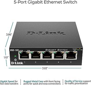 D-Link 5 Port Gigabit Unmanaged Metal Desktop Switch, Plug and Play (DGS-105)