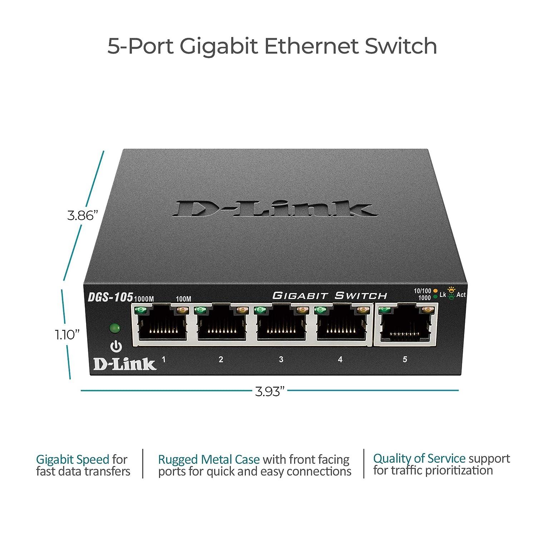 D Link 5 Port Gigabit Unmanaged Metal Desktop Switch Wiring Diagram Also Poe Splitter On Cat6 Crossover Dgs 105 Black Electronics