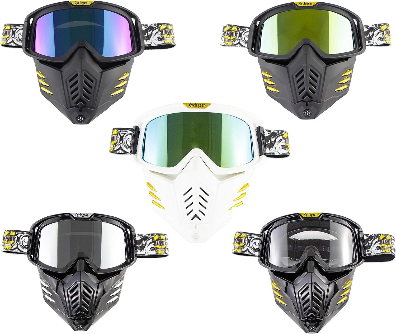 Máscara de casco Jet o Motocross - Universal – Máscara para moto - Gafas de protección – Resistente al viento, anti vaho talla única Lente Specchiata