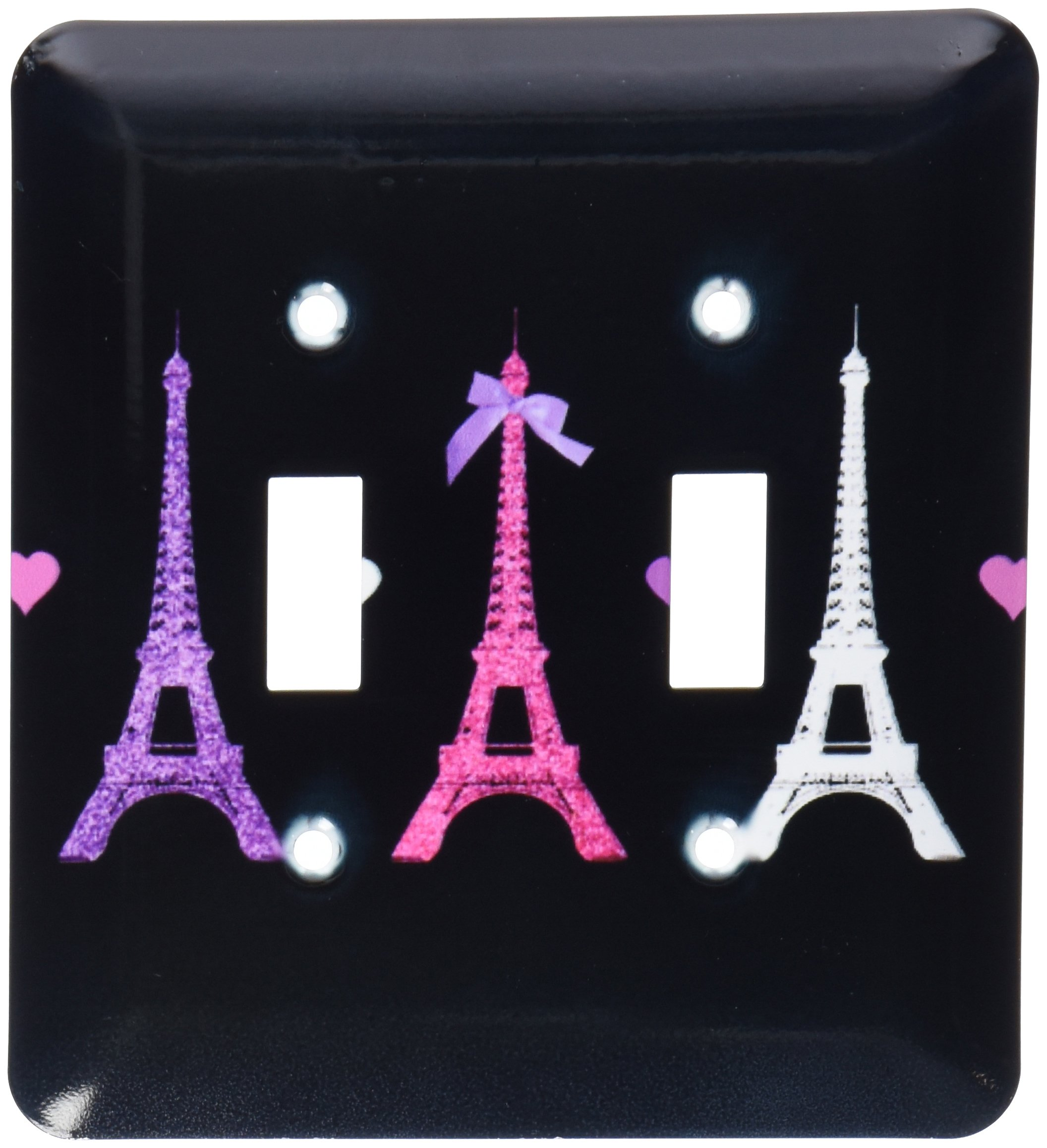 3dRose LLC lsp_113151_2 Girly Eiffel Tower Hot Pink Purple Black Paris Towers Love Hearts Stylish French Modern France Double Toggle Switch by 3dRose (Image #1)