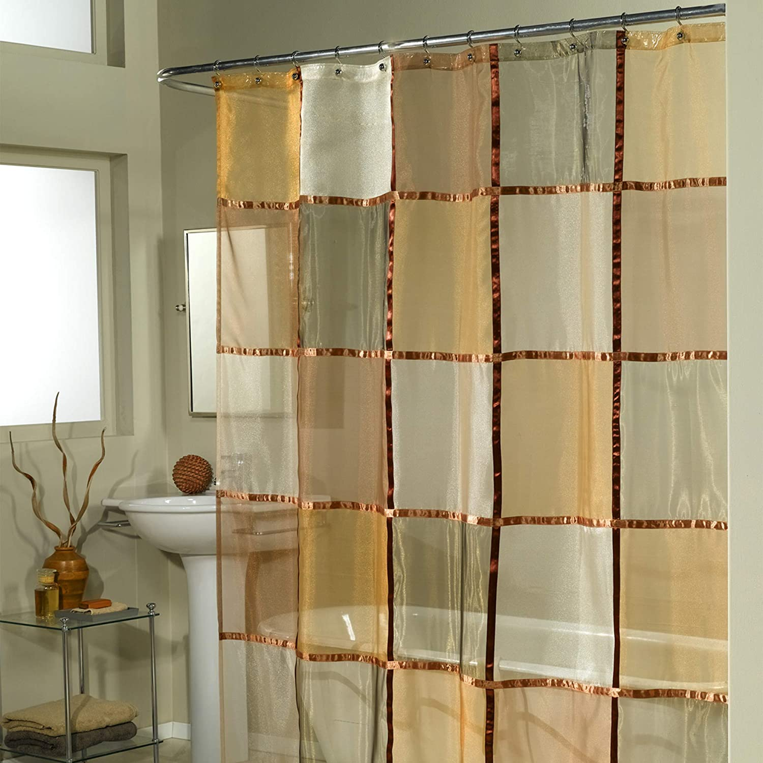 Ex-Cell Home Fashions Mosaic Fabric Shower Curtain, Terracotta