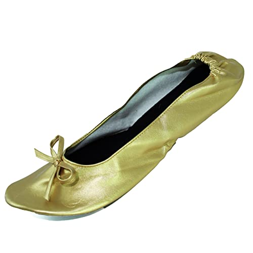 f5f298380 Foldable Flat Ballet Shoes with Expandable Tote Bag for Carrying High Heels  Folding Portable Travel Gold