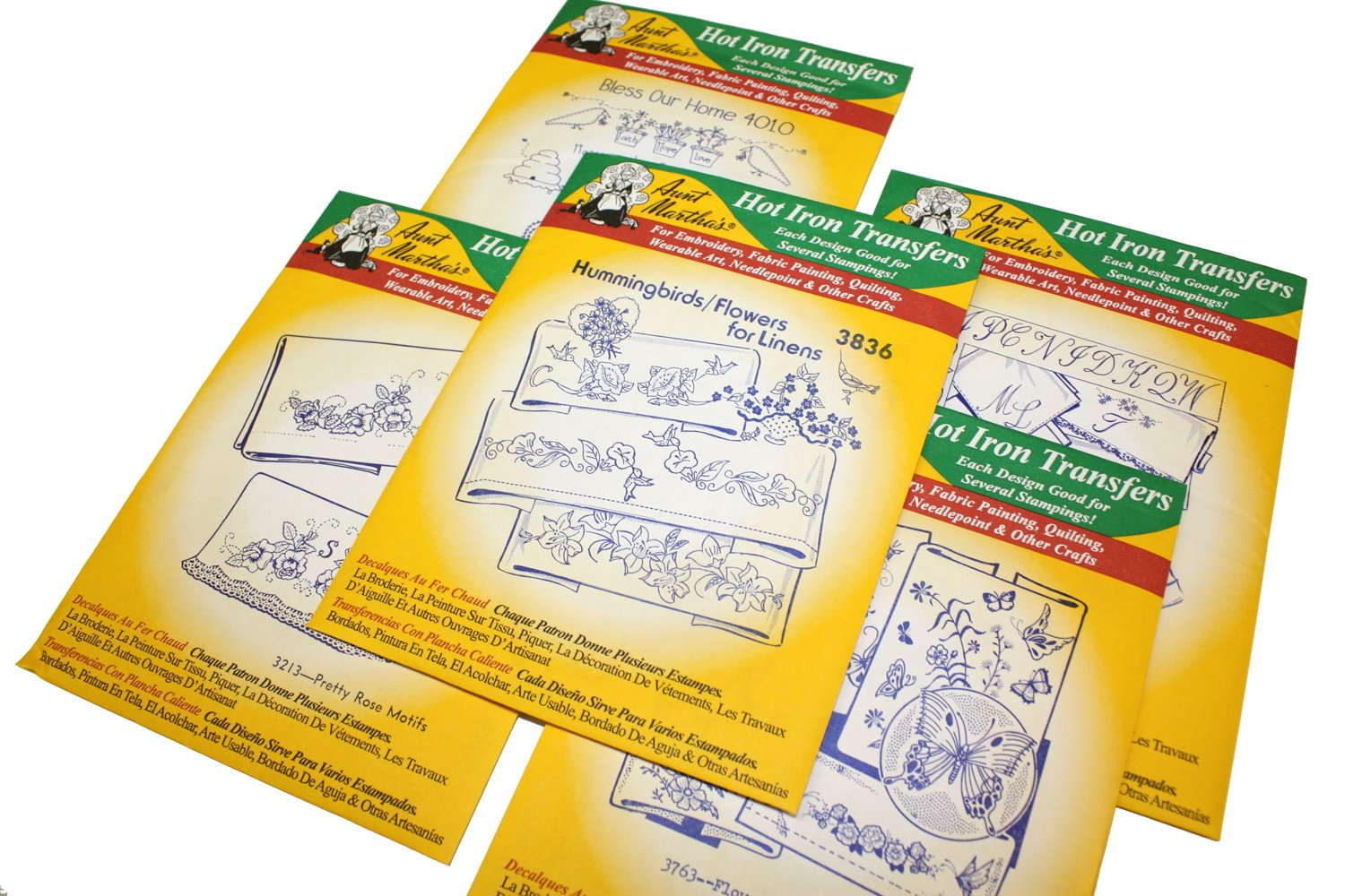 Aunt Marthas Iron On Transfer Patterns for Stitching, Embroidery or Fabric Painting, Patterns for