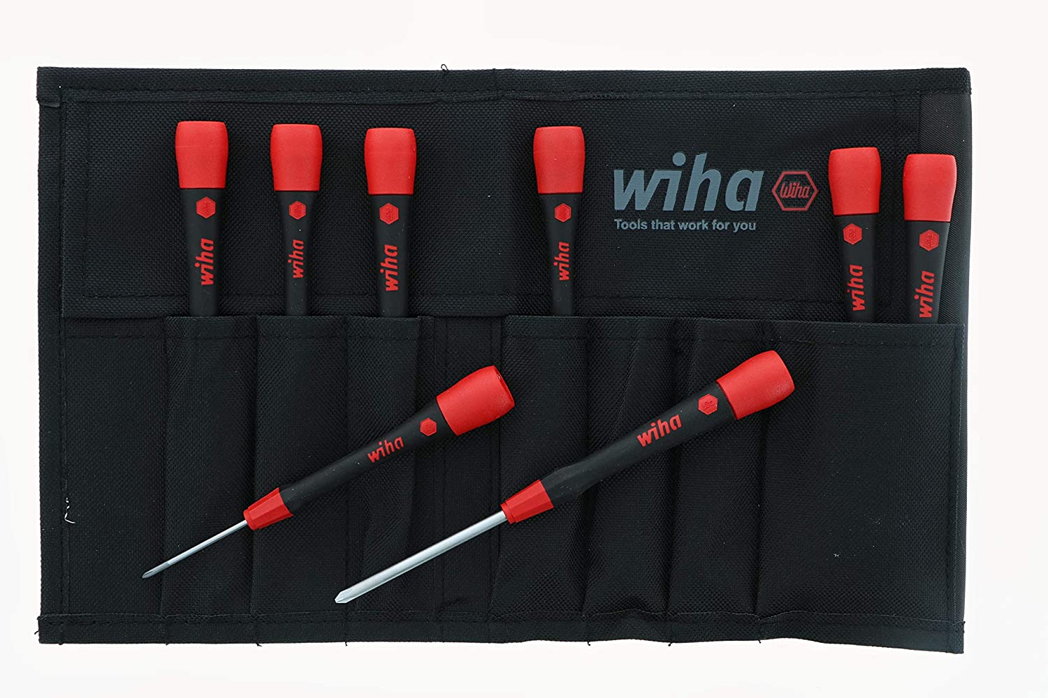 Wiha 26193 Slotted and Phillips Screwdriver Set with Soft PicoFinish Handle 8-Piece