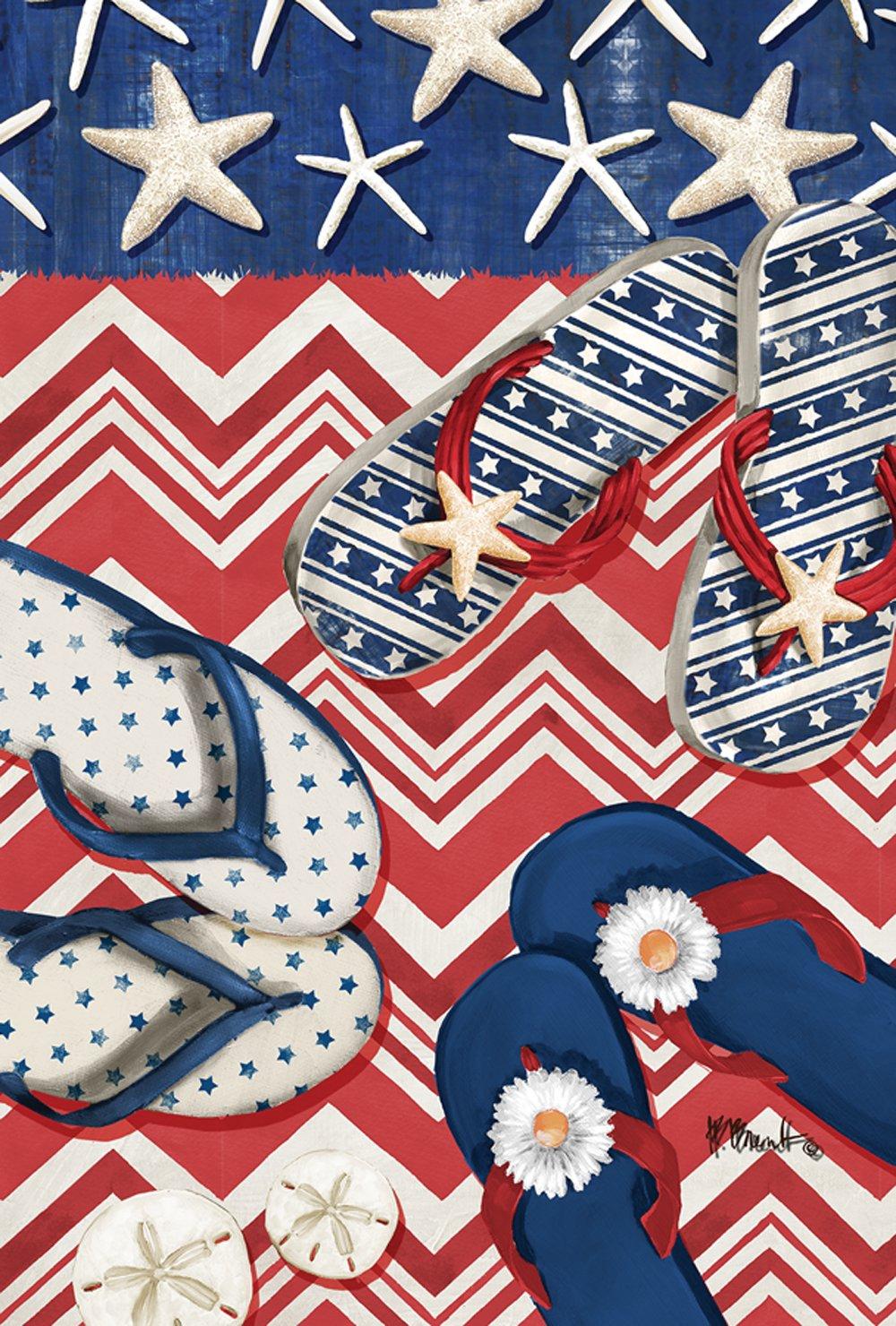 Toland Home Garden American Beach 28 x 40 Inch Decorative Patriotic Summer Sandal Flip Flop House Flag