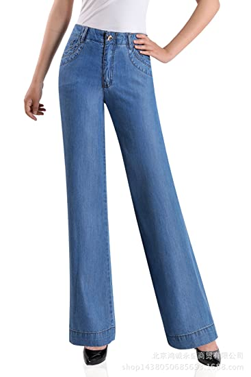 c5370a7da04 Enlishop Women s Oversized High Waisted Jeans Blue Flared Bootcut  Bellbottom Denim Pants at Amazon Women s Jeans store