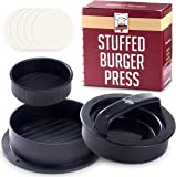 Burger Press - Non Stick Stuffed Hamburger Maker Set + 40 Free Wax Paper Discs - Easy to Use, Dishwasher Safe - Best for Stuffed Beef Burgers & Sliders - The Essential Kitchen & Grill Accessories