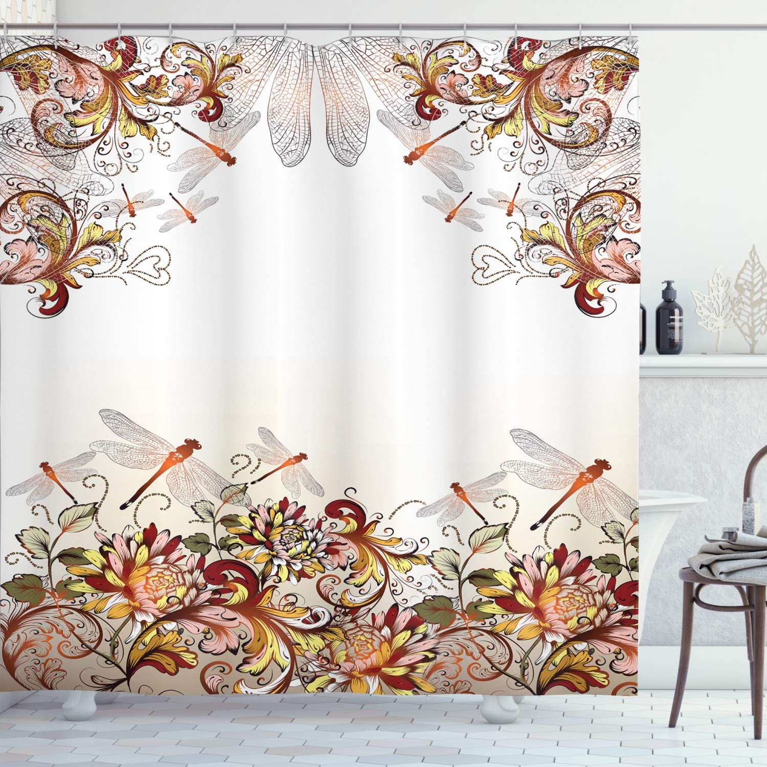 Ambesonne Floral Shower Curtain, Dragonflies and Wildflowers Romantic Illustration of Nature with Ornamental Swirls, Cloth Fabric Bathroom Decor Set with Hooks, 70